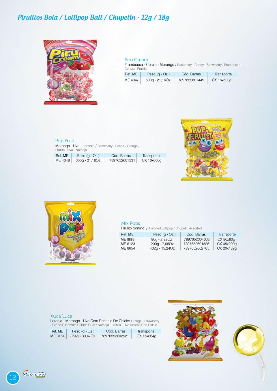 / Assorted Lollipop / Chupetin Assorted ME 8883 80g - 2,82Oz 7897652604662 CX 80x80g ME 8123 200g - 7,05Oz 7897652601586 CX 45x200g ME 8654 432g - 15,24Oz 7897652602705 CX 20x432g Xuca Luca