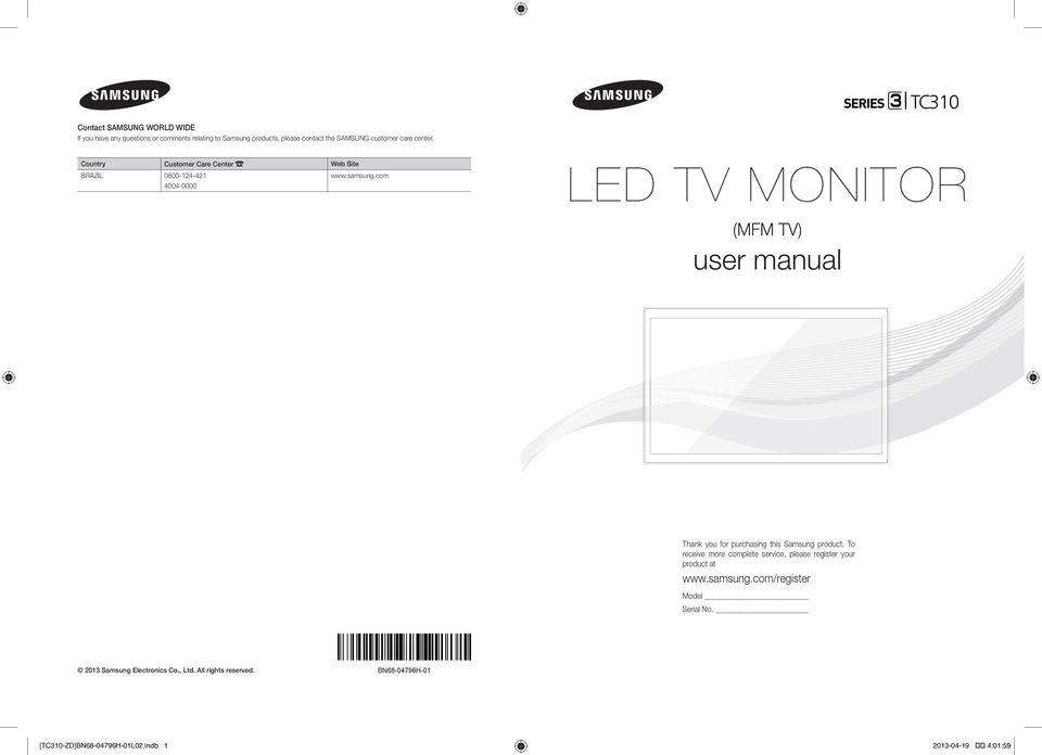 com 4004-0000 LED TV MONITOR (MFM TV) user manual Thank you for purchasing this Samsung product.
