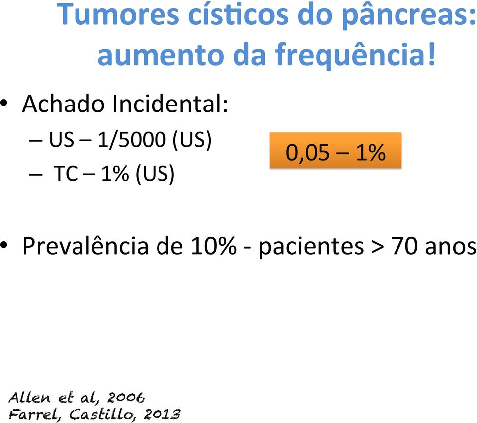 Achado Incidental: US 1/5000 (US) 0,05 1% TC