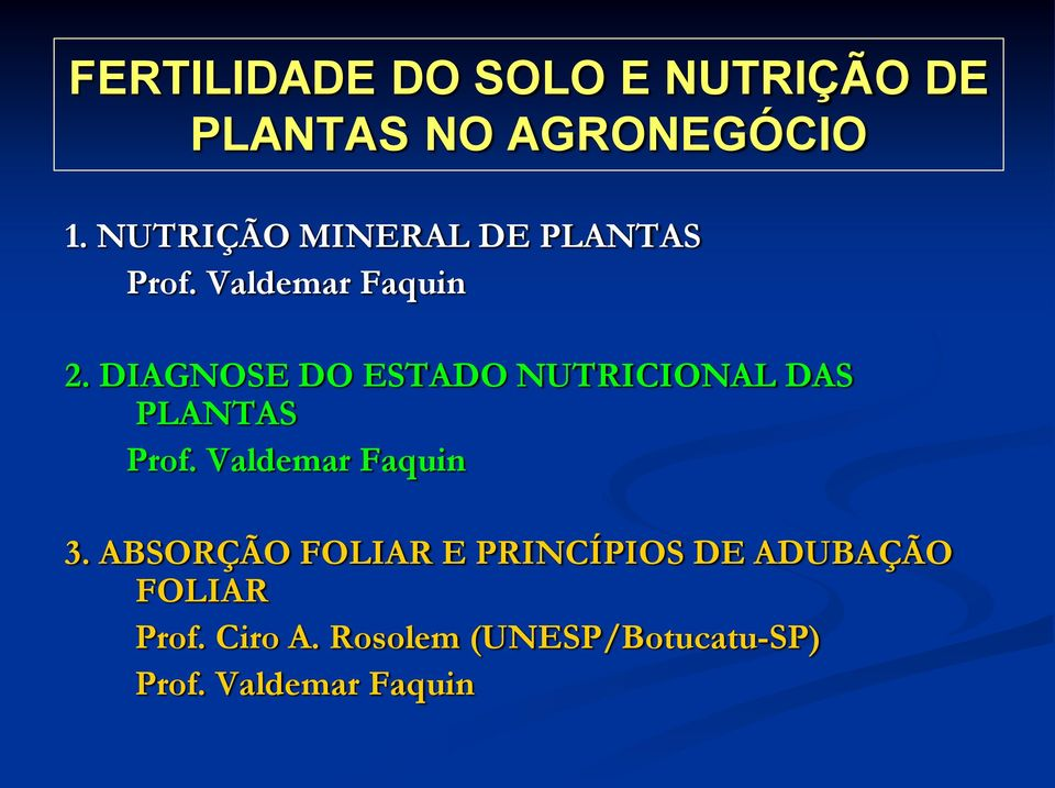 DIAGNOSE DO ESTADO NUTRICIONAL DAS PLANTAS Prof. Valdemar Faquin 3.