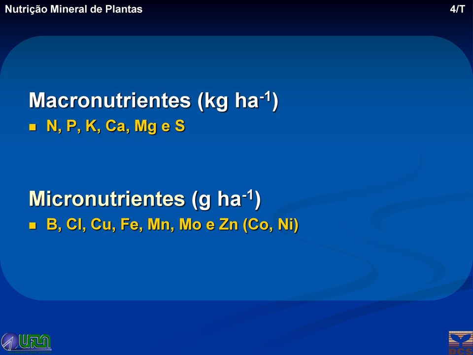 Mg e S Micronutrientes (g ha -1 ) B, Cl,