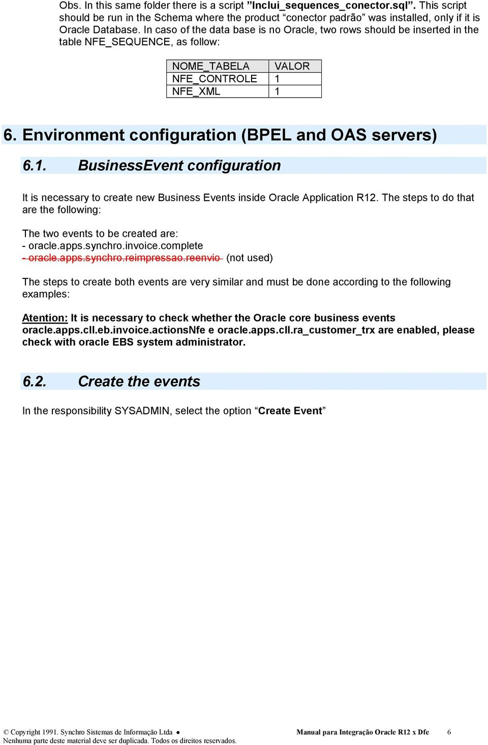 Environment configuration (BPEL and OAS servers) 6.1. BusinessEvent configuration It is necessary to create new Business Events inside Oracle Application R12.