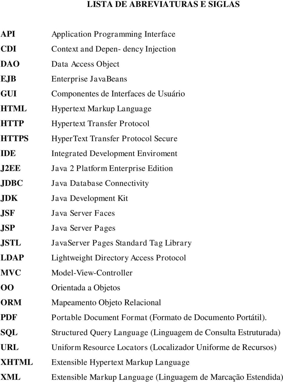 Enviroment Java 2 Platform Enterprise Edition Java Database Connectivity Java Development Kit Java Server Faces Java Server Pages JavaServer Pages Standard Tag Library Lightweight Directory Access
