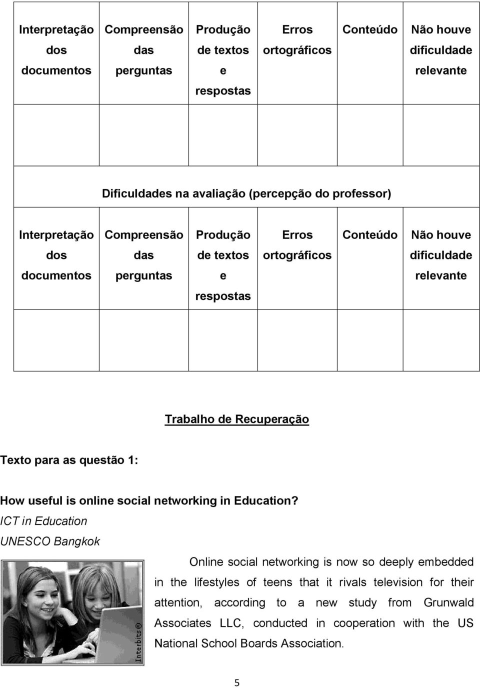 Recuperação Texto para as questão 1: How useful is online social networking in Education?