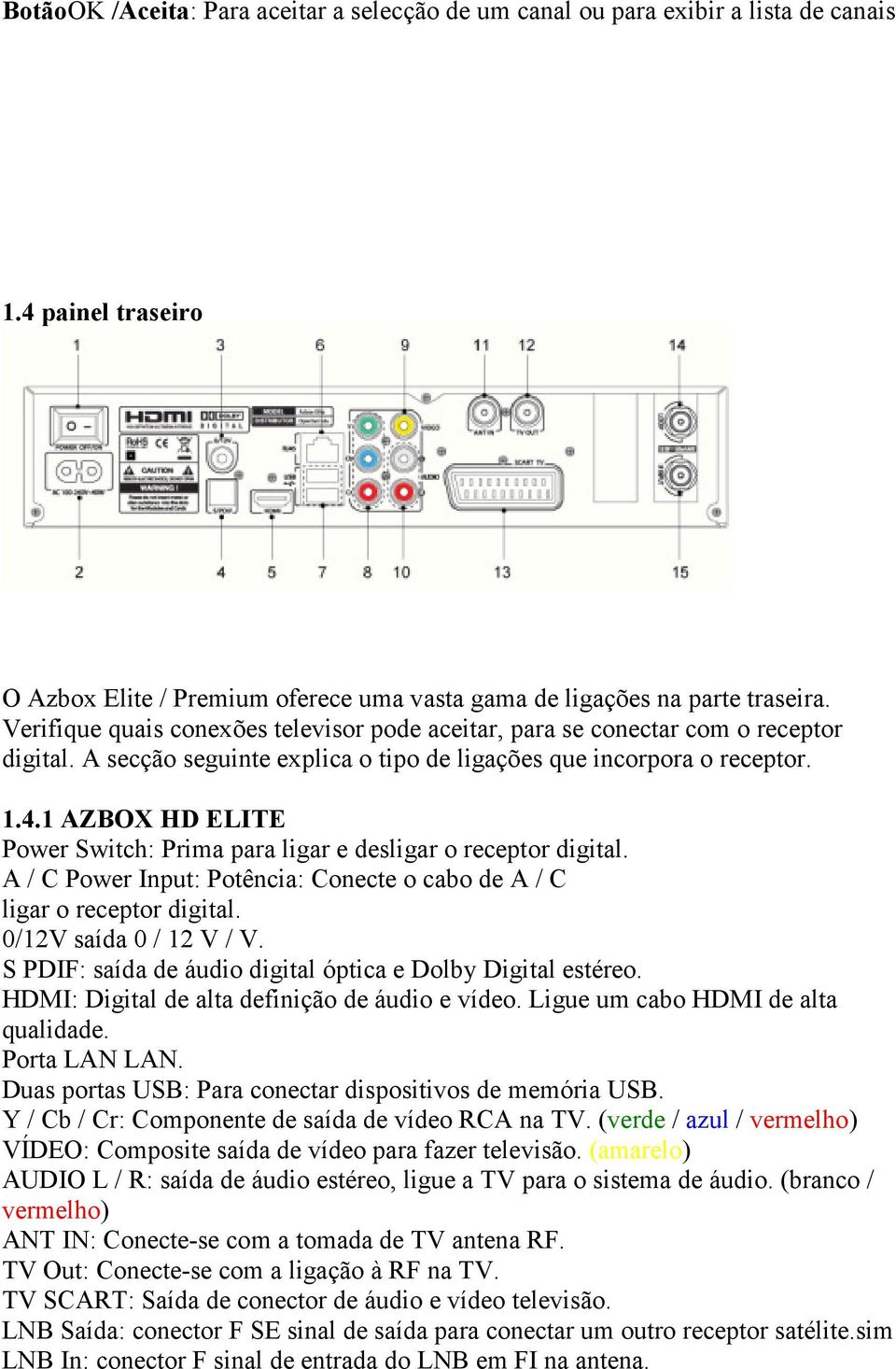 1 AZBOX HD ELITE Power Switch: Prima para ligar e desligar o receptor digital. A / C Power Input: Potência: Conecte o cabo de A / C ligar o receptor digital. 0/12V saída 0 / 12 V / V.