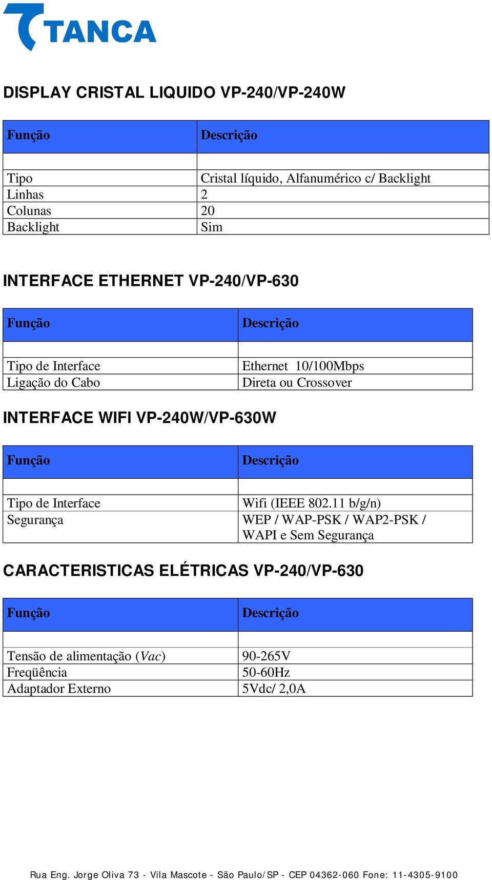 WIFI VP-240W/VP-630W Tipo de Interface Wifi (IEEE 802.