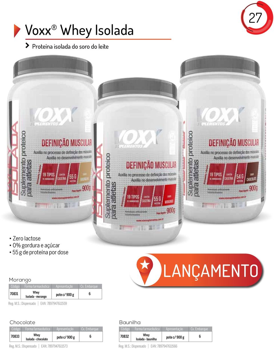 : Dispensado EAN: 789794711559 LANÇAMENTO Chocolate 70833 Whey Isolada - chocolate pote c/ 900 g Reg.