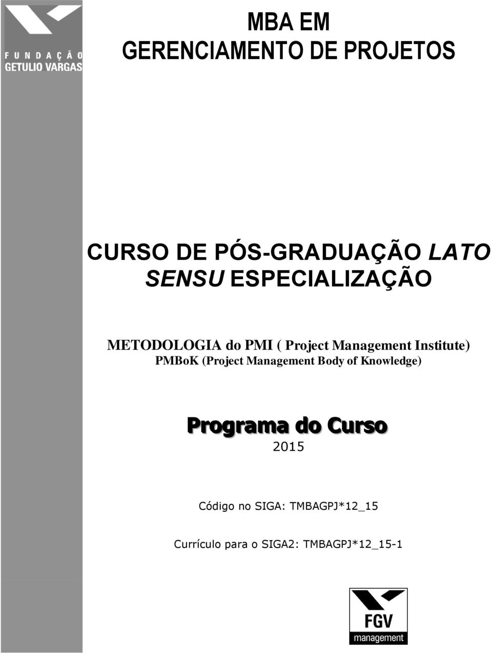 PMBoK (Project Management Body of Knowledge) Programa do Curso 2015