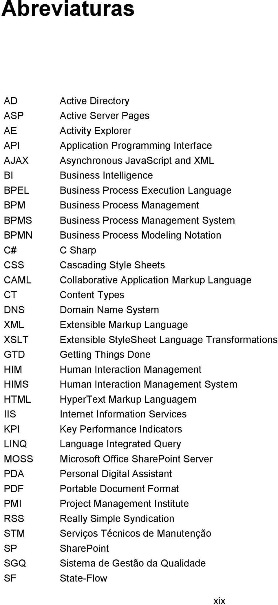 Markup Language CT Content Types DNS Domain Name System XML Extensible Markup Language XSLT Extensible StyleSheet Language Transformations GTD Getting Things Done HIM Human Interaction Management