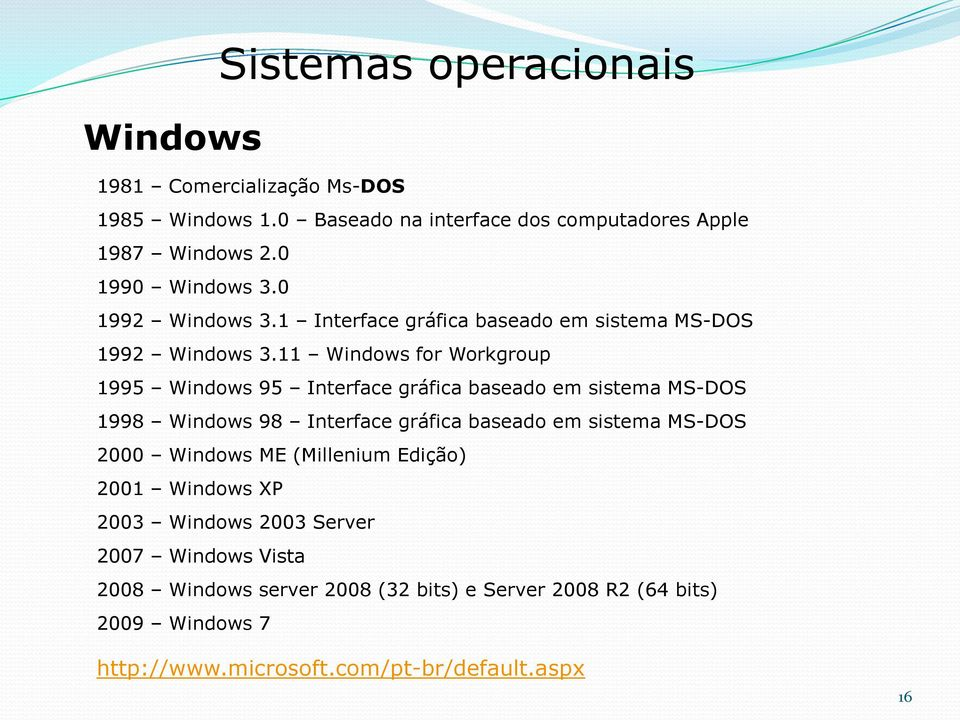 11 Windows for Workgroup 1995 Windows 95 Interface gráfica baseado em sistema MS-DOS 1998 Windows 98 Interface gráfica baseado em sistema MS-DOS