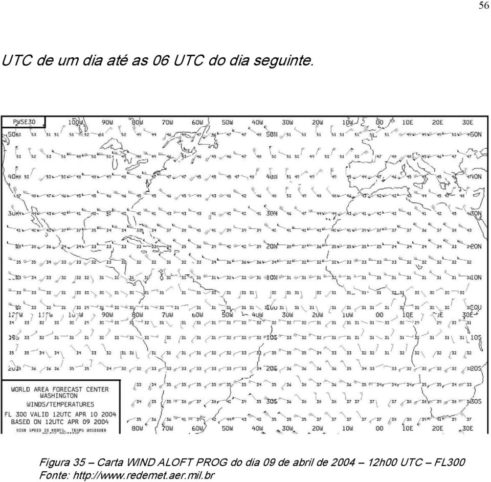 Figura 35 Carta WIND ALOFT PROG do dia