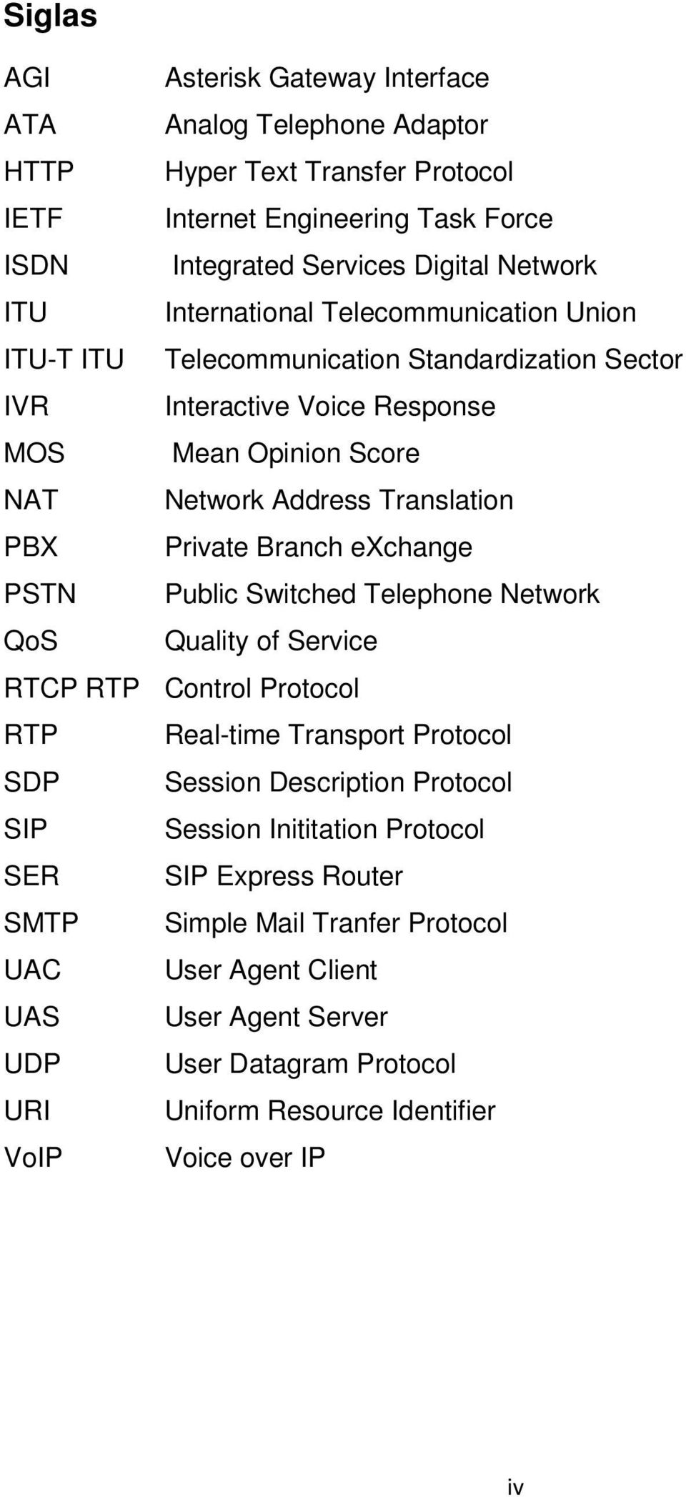 Branch exchange PSTN Public Switched Telephone Network QoS Quality of Service RTCP RTP Control Protocol RTP Real-time Transport Protocol SDP Session Description Protocol SIP Session