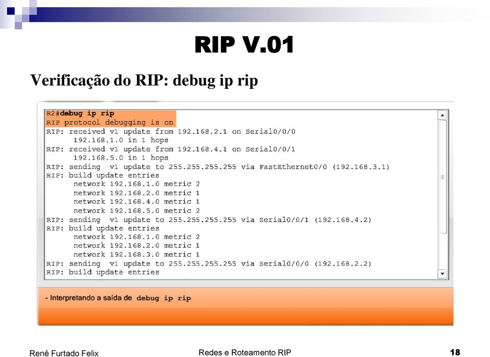 do RIP: debug ip
