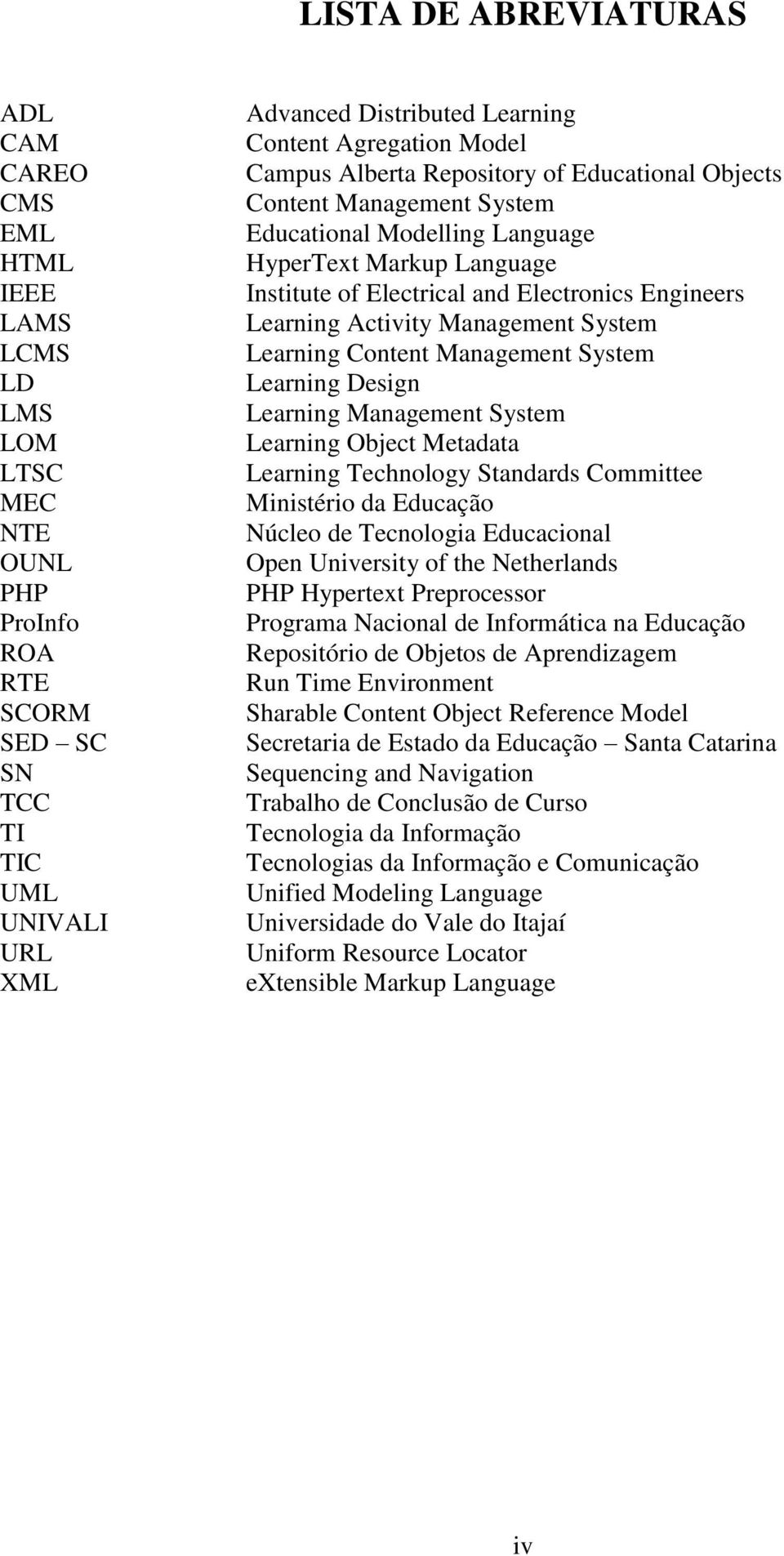 Learning Activity Management System Learning Content Management System Learning Design Learning Management System Learning Object Metadata Learning Technology Standards Committee Ministério da