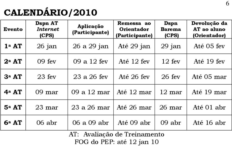 3 a AT 23 fev 23 a 26 fev Até 26 fev 26 fev Até 05 mar 4 a AT 09 mar 09 a 12 mar Até 12 mar 12 mar Até 19 mar 5 a AT 23 mar 23 a 26 mar