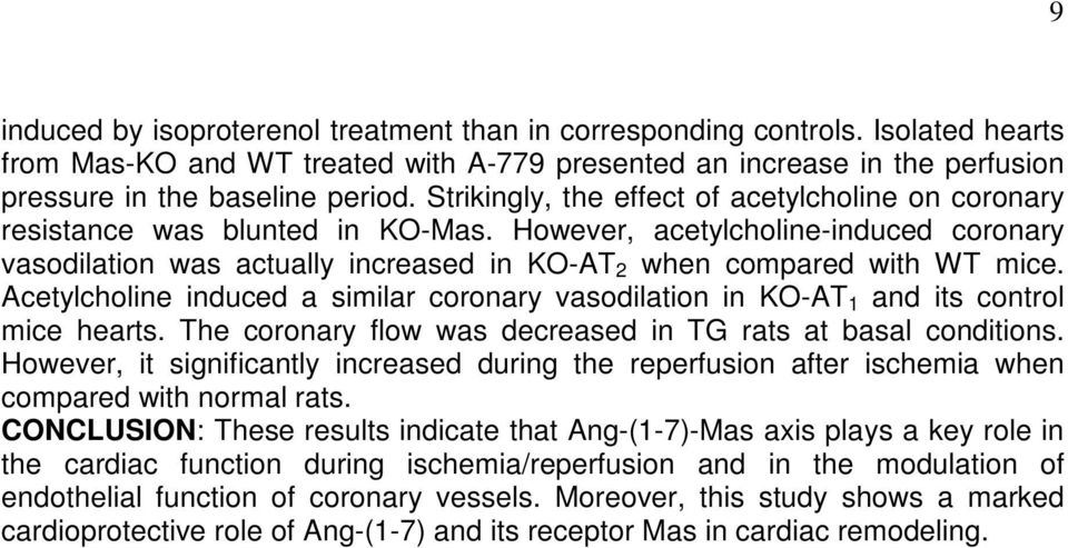 Acetylcholine induced a similar coronary vasodilation in KO-AT 1 and its control mice hearts. The coronary flow was decreased in TG rats at basal conditions.