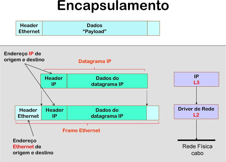 L3 Header Ethernet Header IP Dados do datagrama IP Driver de Rede