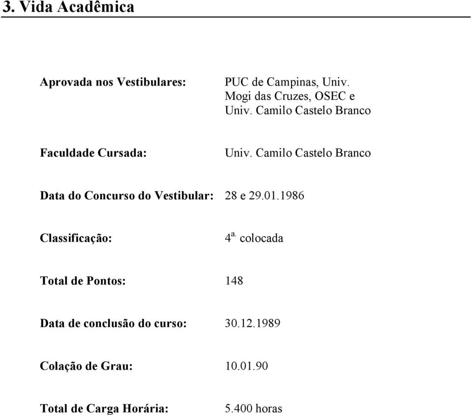 Camilo Castelo Branco Data do Concurso do Vestibular: 28 e 29.01.1986 Classificação: 4 a.
