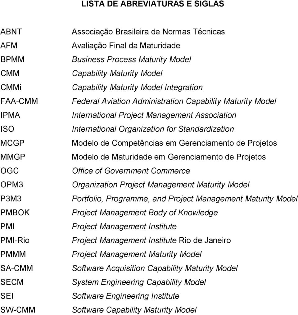 Management Association International Organization for Standardization Modelo de Competências em Gerenciamento de Projetos Modelo de Maturidade em Gerenciamento de Projetos Office of Government