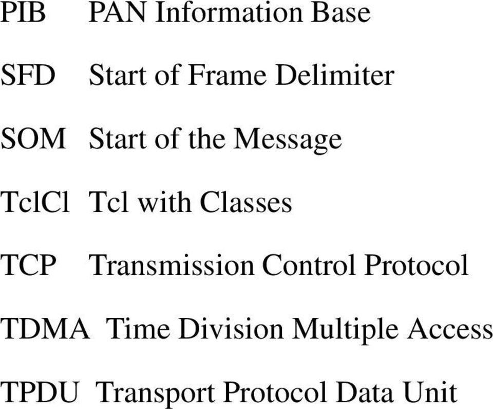 Classes TCP Transmission Control Protocol TDMA