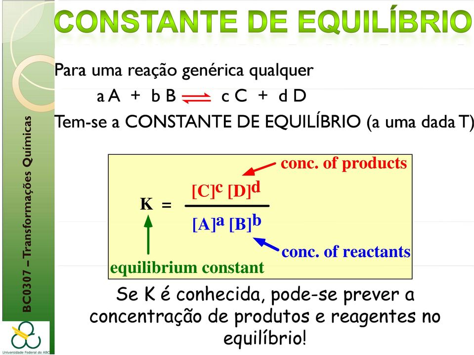 [A]a [B]b equilibrium constant conc. of products conc.