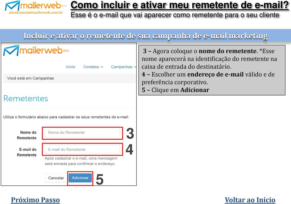 sua campanha de e-mail marketing 3 Agora coloque o nome do remetente.