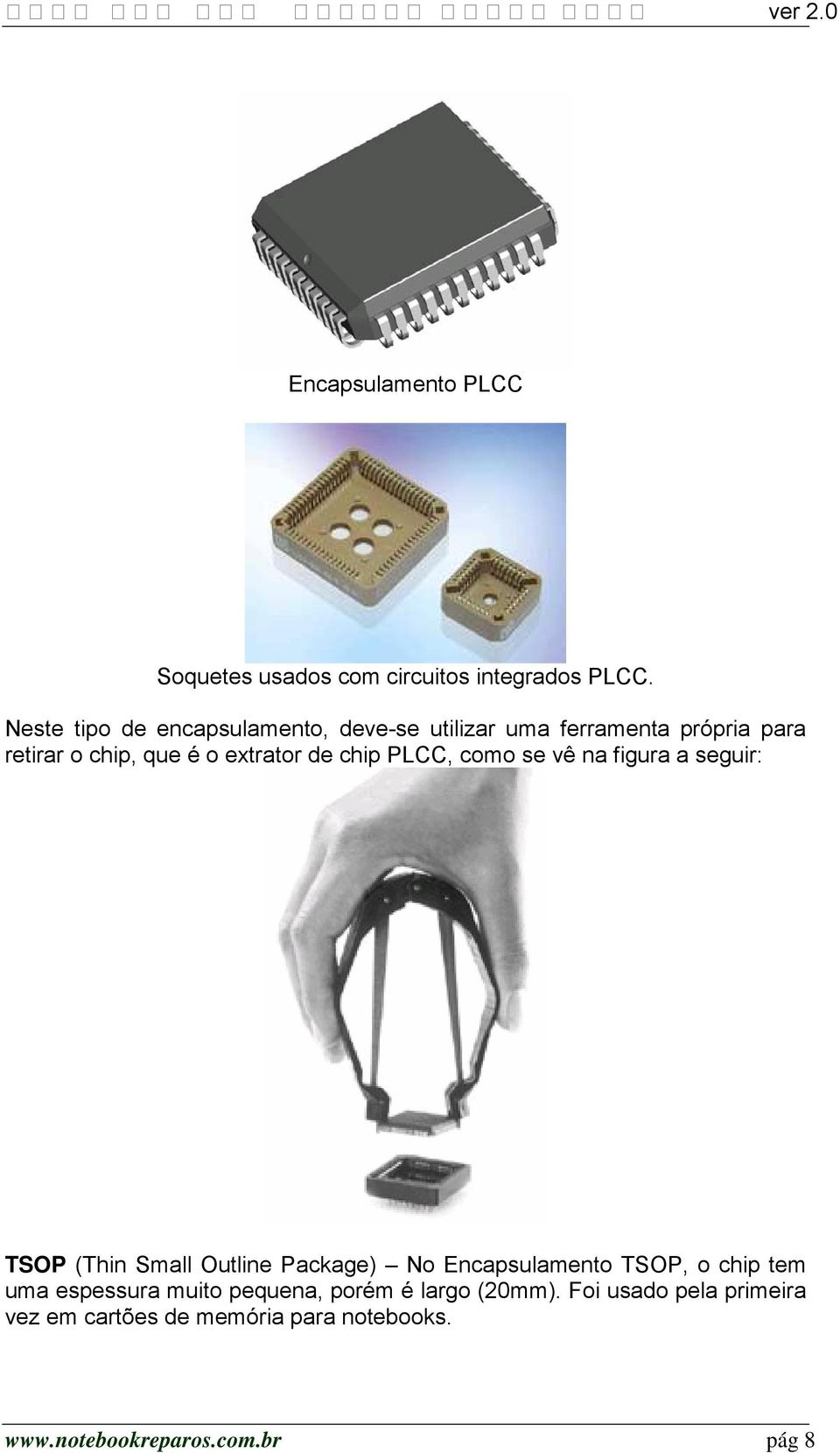 de chip PLCC, como se vê na figura a seguir: TSOP (Thin Small Outline Package) No Encapsulamento TSOP, o chip