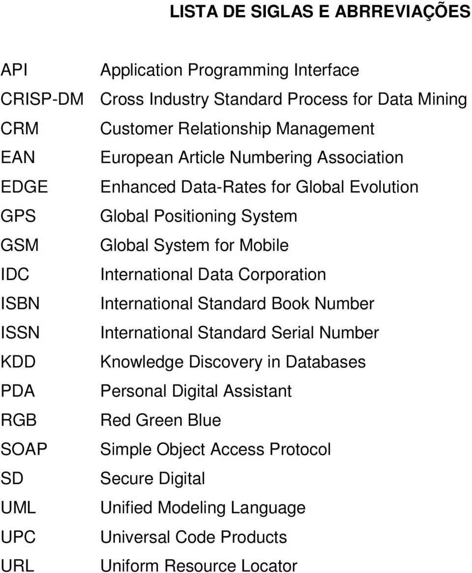 International Data Corporation ISBN International Standard Book Number ISSN International Standard Serial Number KDD Knowledge Discovery in Databases PDA Personal