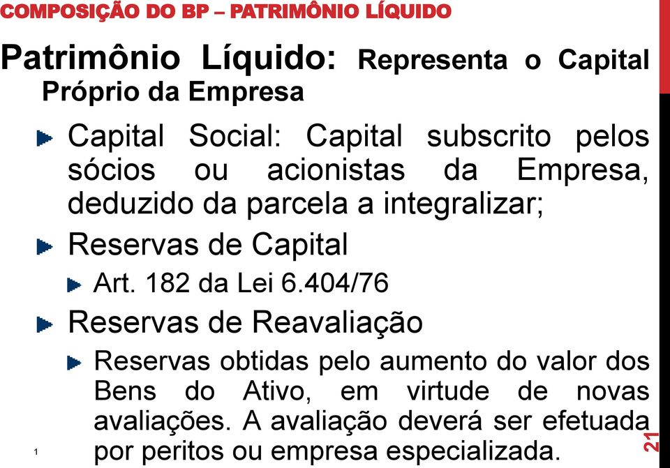 Reservas de Capital Art. 82 da Lei 6.