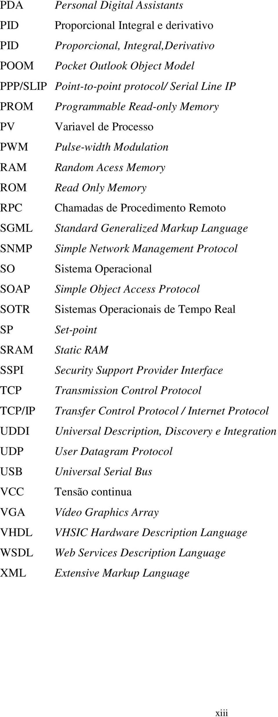 Language SNMP Simple Network Management Protocol SO Sistema Operacional SOAP Simple Object Access Protocol SOTR Sistemas Operacionais de Tempo Real SP Set-point SRAM Static RAM SSPI Security Support