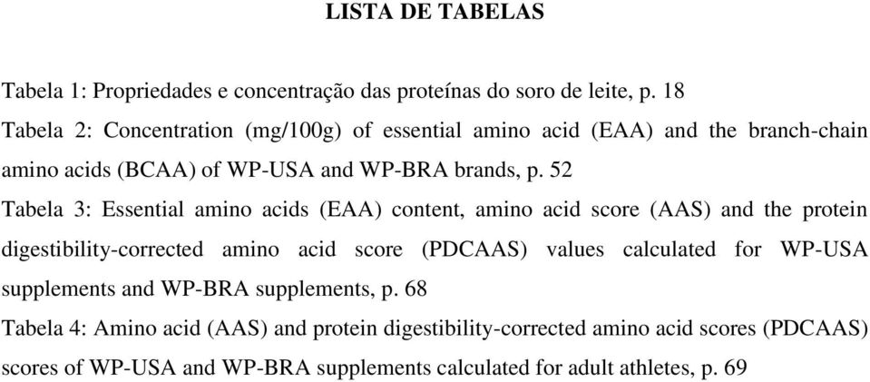 52 Tabela 3: Essential amino acids (EAA) content, amino acid score (AAS) and the protein digestibility-corrected amino acid score (PDCAAS) values