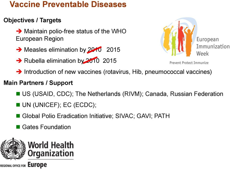 Hib, pneumococcal vaccines) Main Partners / Support US (USAID, CDC); The Netherlands (RIVM); Canada,