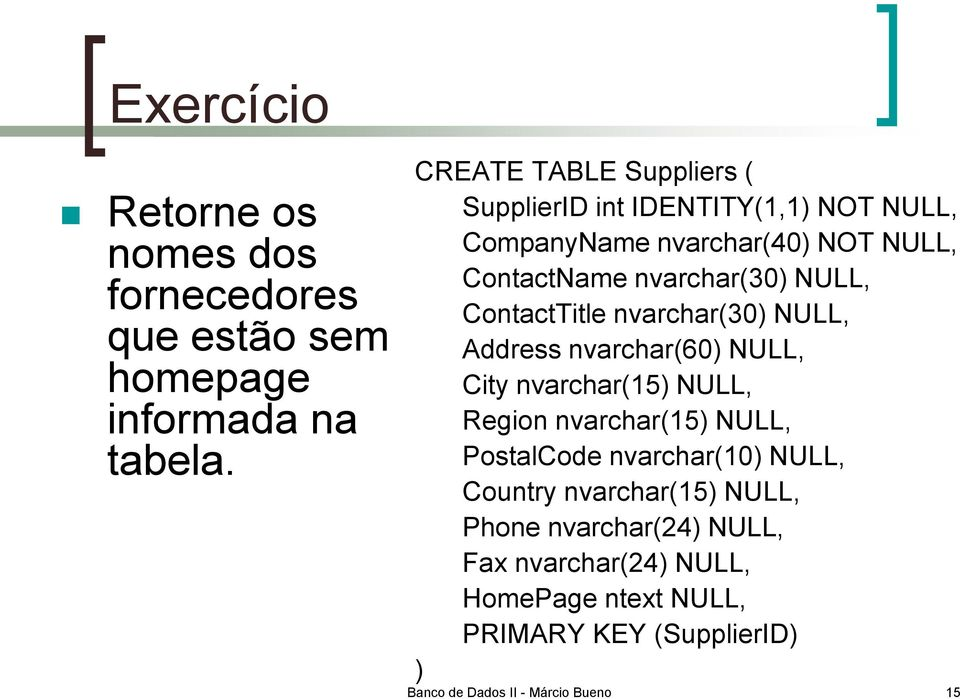 NULL, ContactTitle nvarchar(30) NULL, Address nvarchar(60) NULL, City nvarchar(15) NULL, Region nvarchar(15) NULL, PostalCode