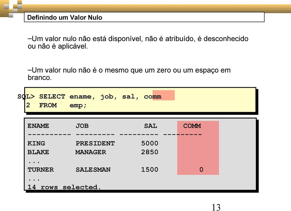SQL> SELECT ename, job, sal, comm 2 FROM emp; ENAME JOB SAL COMM ---------- ---------