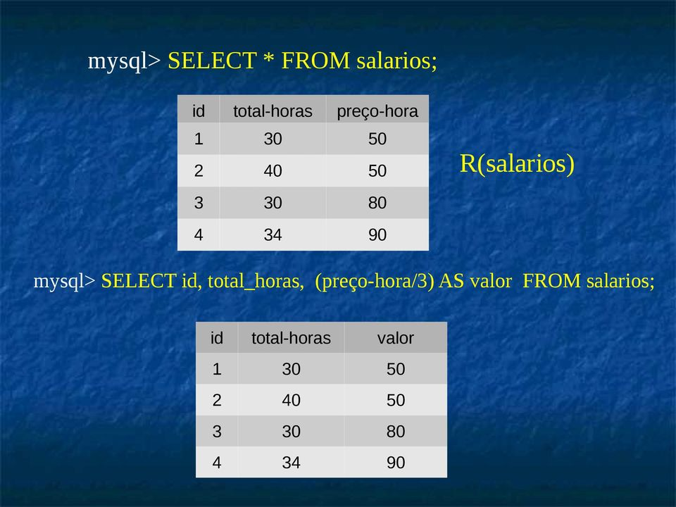mysql> SELECT id, total_horas, (preço-hora/3) AS valor