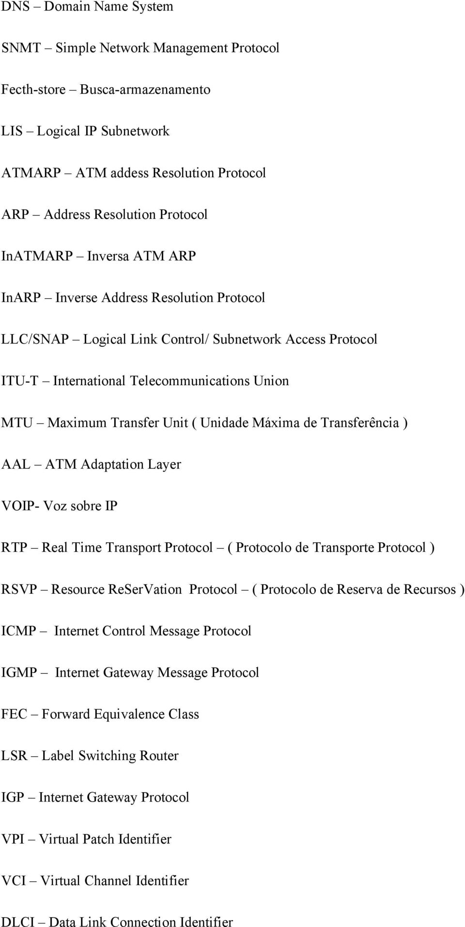 Máxima de Transferência ) AAL ATM Adaptation Layer VOIP- Voz sobre IP RTP Real Time Transport Protocol ( Protocolo de Transporte Protocol ) RSVP Resource ReSerVation Protocol ( Protocolo de Reserva