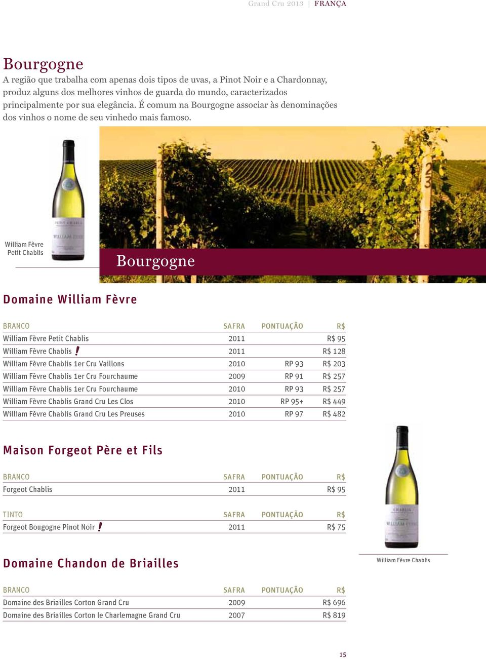 William Fèvre Petit Chablis Bourgogne Domaine William Fèvre William Fèvre Petit Chablis 2011 R$ 95 William Fèvre Chablis 2011 R$ 128 William Fèvre Chablis 1er Cru Vaillons 2010 RP 93 R$ 203 William