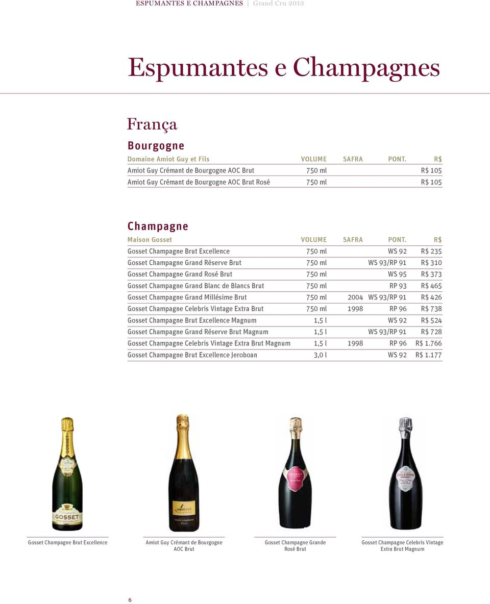 R$ Gosset Champagne Brut Excellence 750 ml WS 92 R$ 235 Gosset Champagne Grand Réserve Brut 750 ml WS 93/RP 91 R$ 310 Gosset Champagne Grand Rosé Brut 750 ml WS 95 R$ 373 Gosset Champagne Grand Blanc