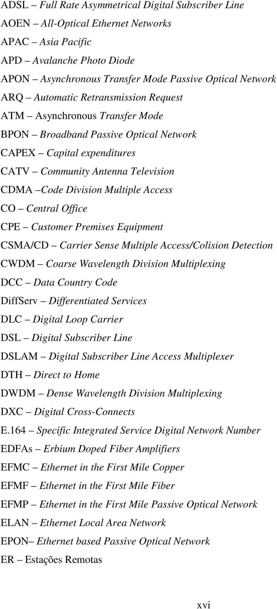 CO Central Office CPE Customer Premises Equipment CSMA/CD Carrier Sense Multiple Access/Colision Detection CWDM Coarse Wavelength Division Multiplexing DCC Data Country Code DiffServ Differentiated