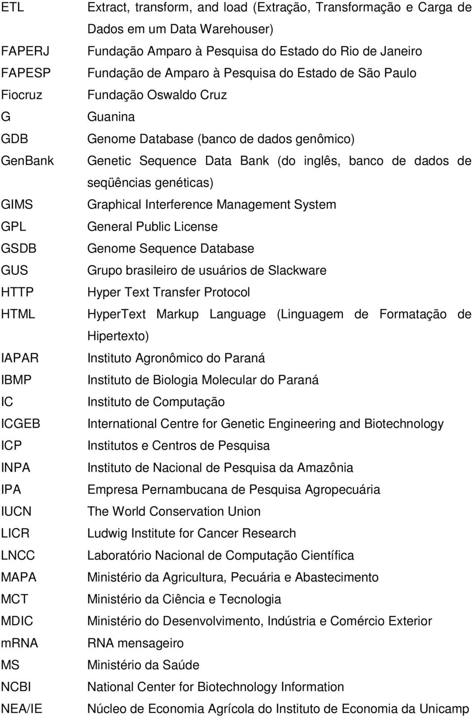 Database (banco de dados genômico) Genetic Sequence Data Bank (do inglês, banco de dados de seqüências genéticas) Graphical Interference Management System General Public License Genome Sequence