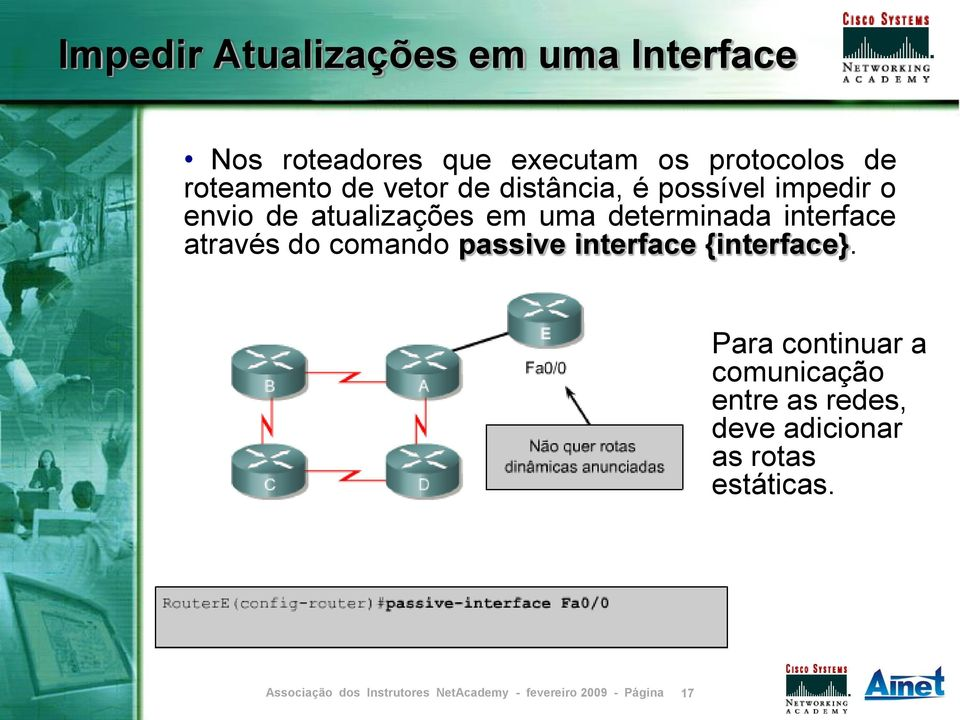 em uma determinada interface através do comando passive interface {interface}.