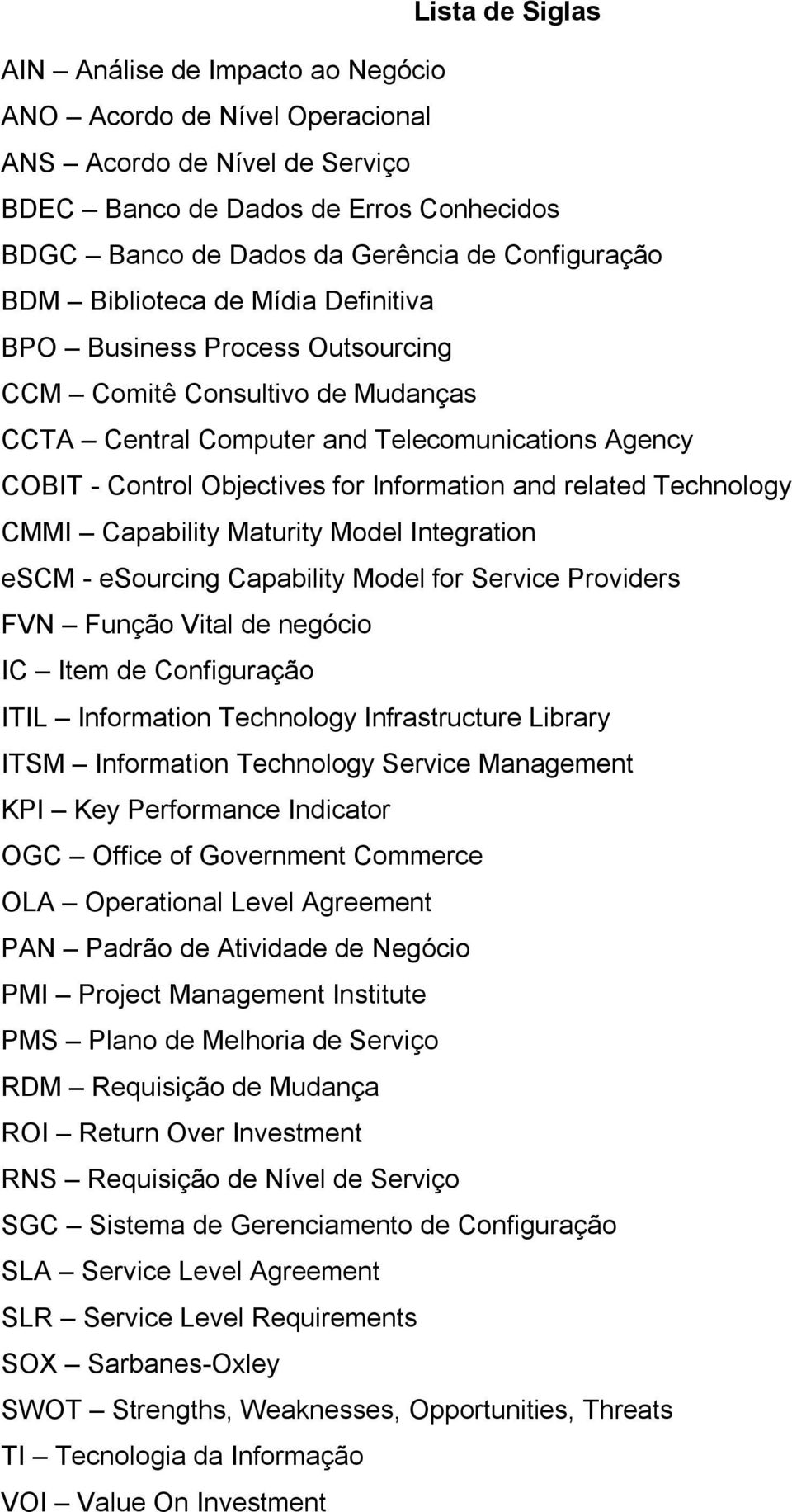 Information and related Technology CMMI Capability Maturity Model Integration escm - esourcing Capability Model for Service Providers FVN Função Vital de negócio IC Item de Configuração ITIL