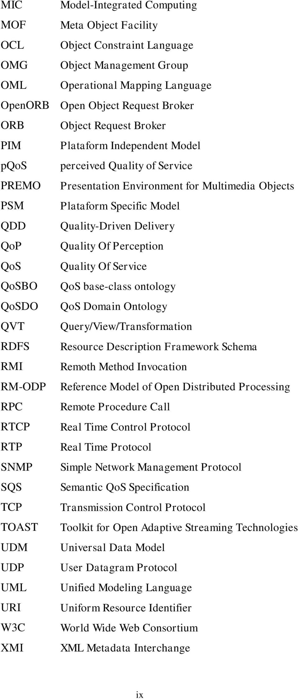 Quality Of Perception QoS Quality Of Service QoSBO QoS base-class ontology QoSDO QoS Domain Ontology QVT Query/View/Transformation RDFS Resource Description Framework Schema RMI Remoth Method