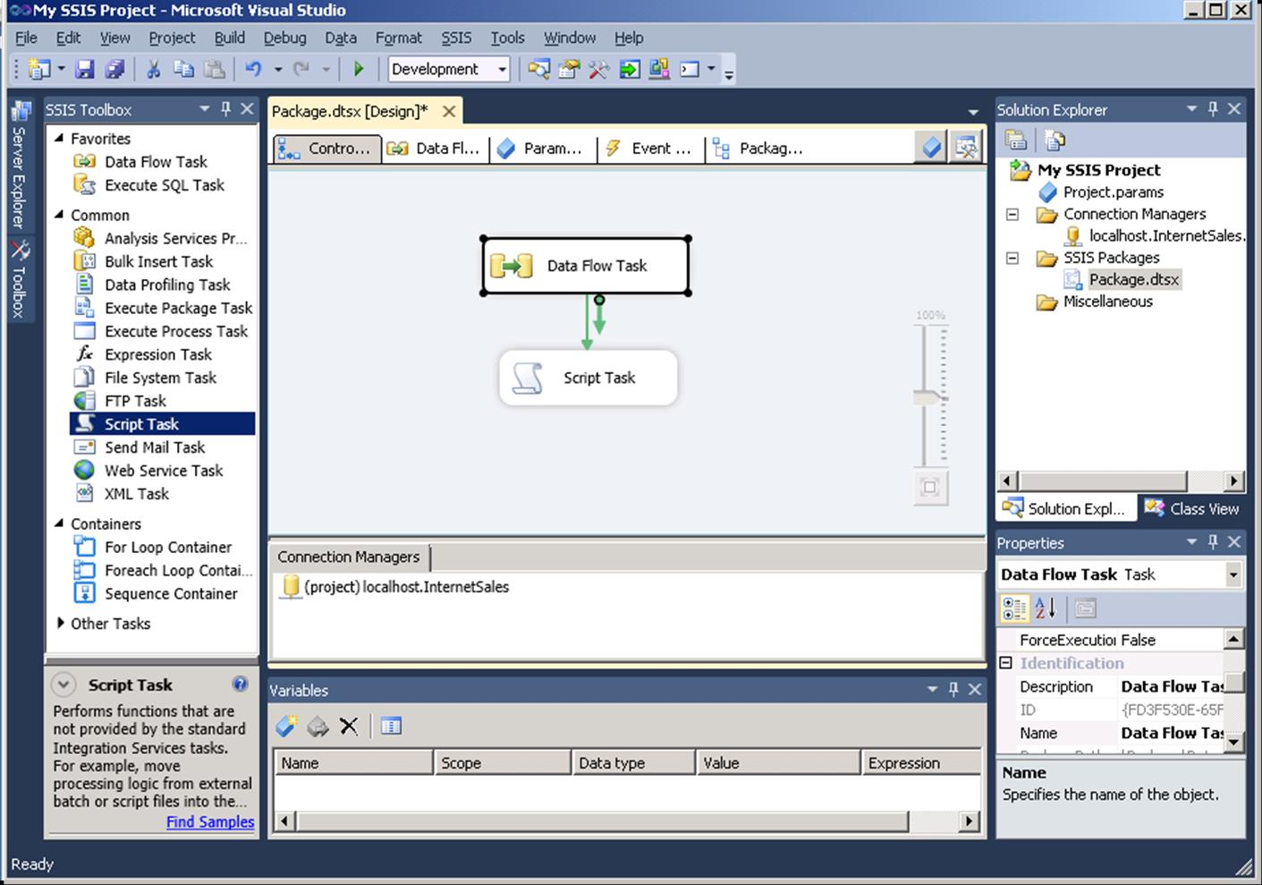 Package-level Parameters Data Flow Tab Event Handlers Tab Package Explorer Solution Explorer
