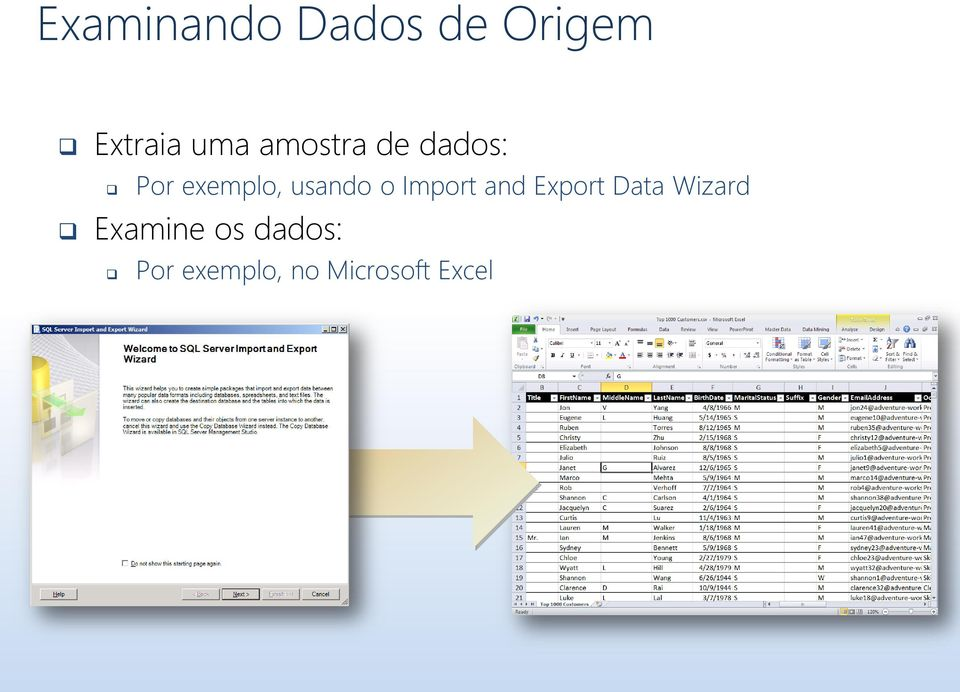 Import and Export Data Wizard Examine