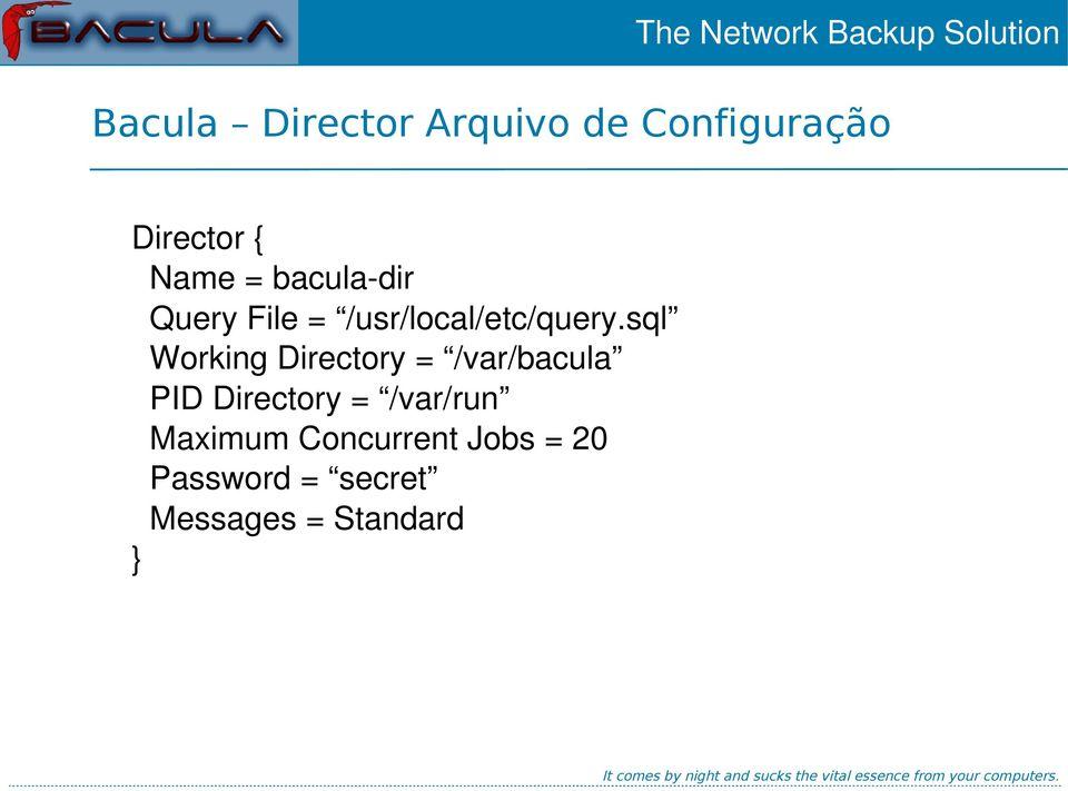 sql Working Directory = /var/bacula PID Directory =