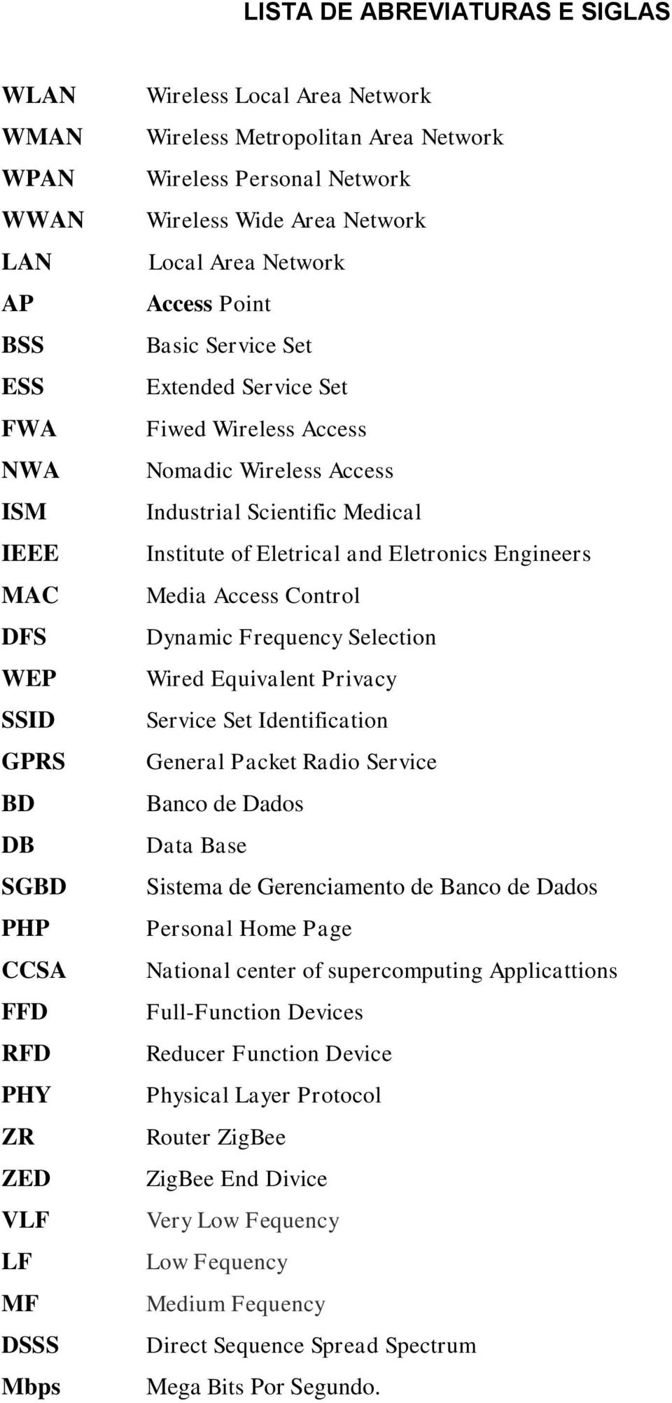 Access Industrial Scientific Medical Institute of Eletrical and Eletronics Engineers Media Access Control Dynamic Frequency Selection Wired Equivalent Privacy Service Set Identification General