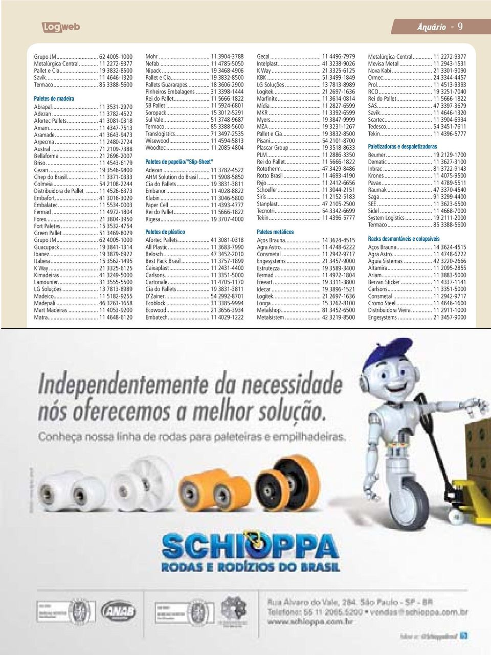 .. 19 3546-9800 Chep do Brasil... 11 3371-0333 Colmeia... 54 2108-2244 Distribuidora de Pallet... 11 4526-6373 Embafort... 41 3016-3020 Embalatec... 11 5534-0003 Fermad... 11 4972-1804 Forex.