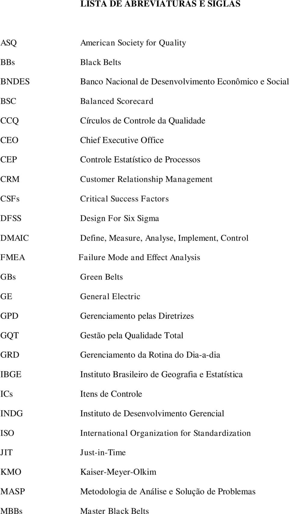 Factors Design For Six Sigma Define, Measure, Analyse, Implement, Control Failure Mode and Effect Analysis Green Belts General Electric Gerenciamento pelas Diretrizes Gestão pela Qualidade Total