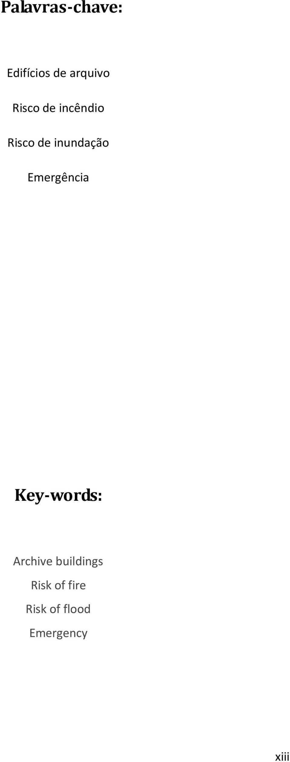 Emergência Key-words: Archive